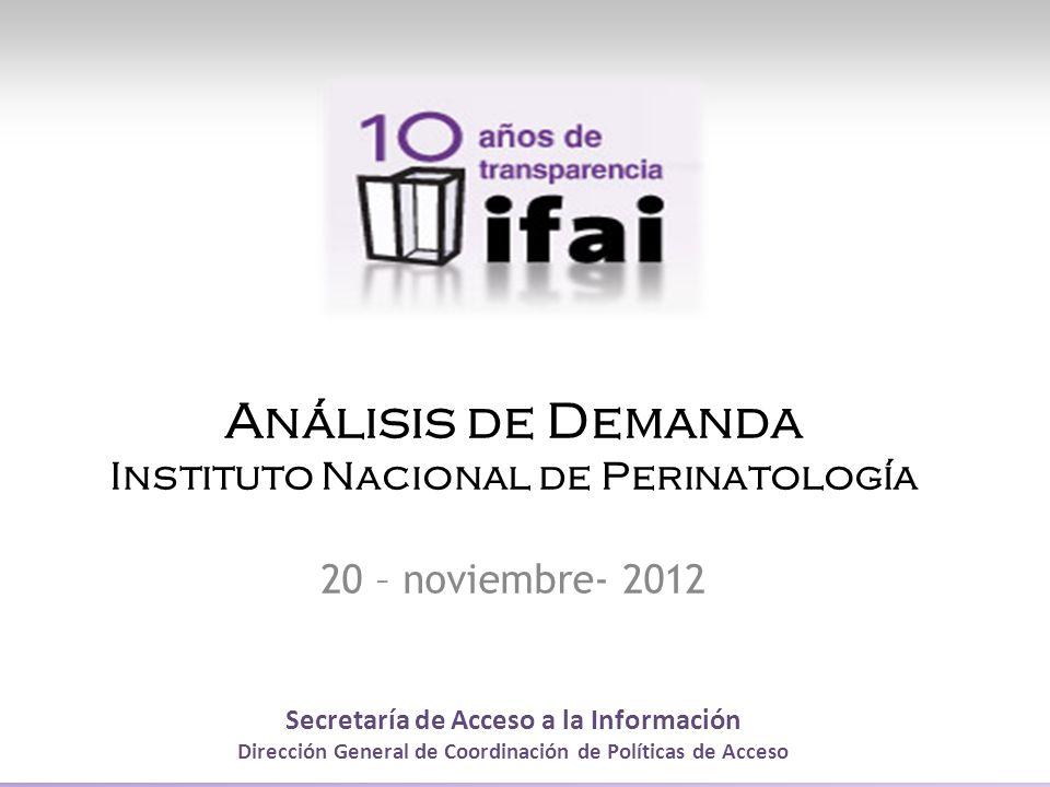 Secretaría de Acceso a la Información Dirección General de Coordinación de Políticas de Acceso Análisis de Demanda Instituto Nacional de Perinatología 20 – noviembre- 2012