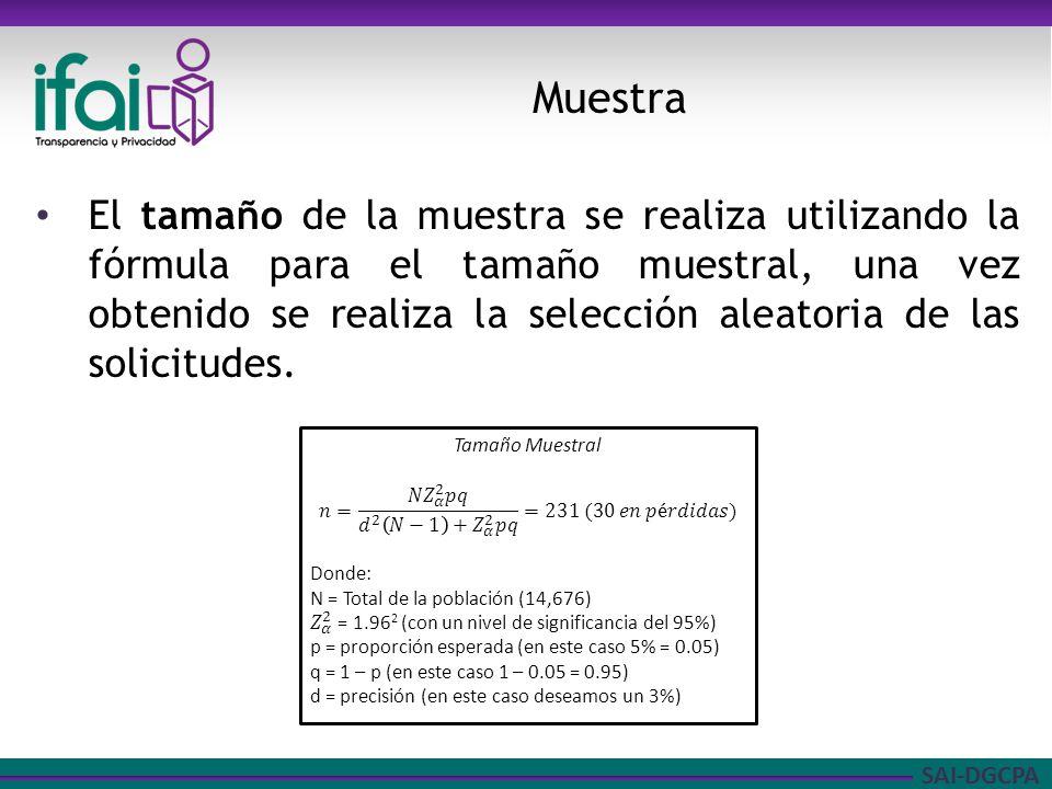 SAI-DGCPA El tamaño de la muestra se realiza utilizando la fórmula para el tamaño muestral, una vez obtenido se realiza la selección aleatoria de las