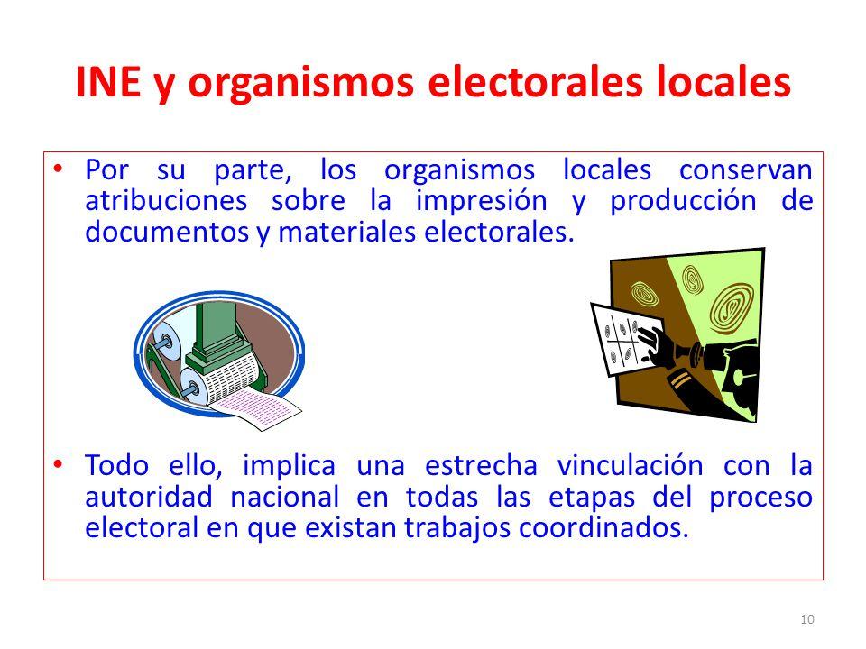 INE y organismos electorales locales Por su parte, los organismos locales conservan atribuciones sobre la impresión y producción de documentos y mater