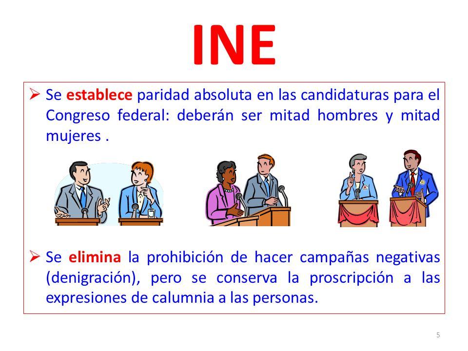 INE Se establece paridad absoluta en las candidaturas para el Congreso federal: deberán ser mitad hombres y mitad mujeres. Se elimina la prohibición d