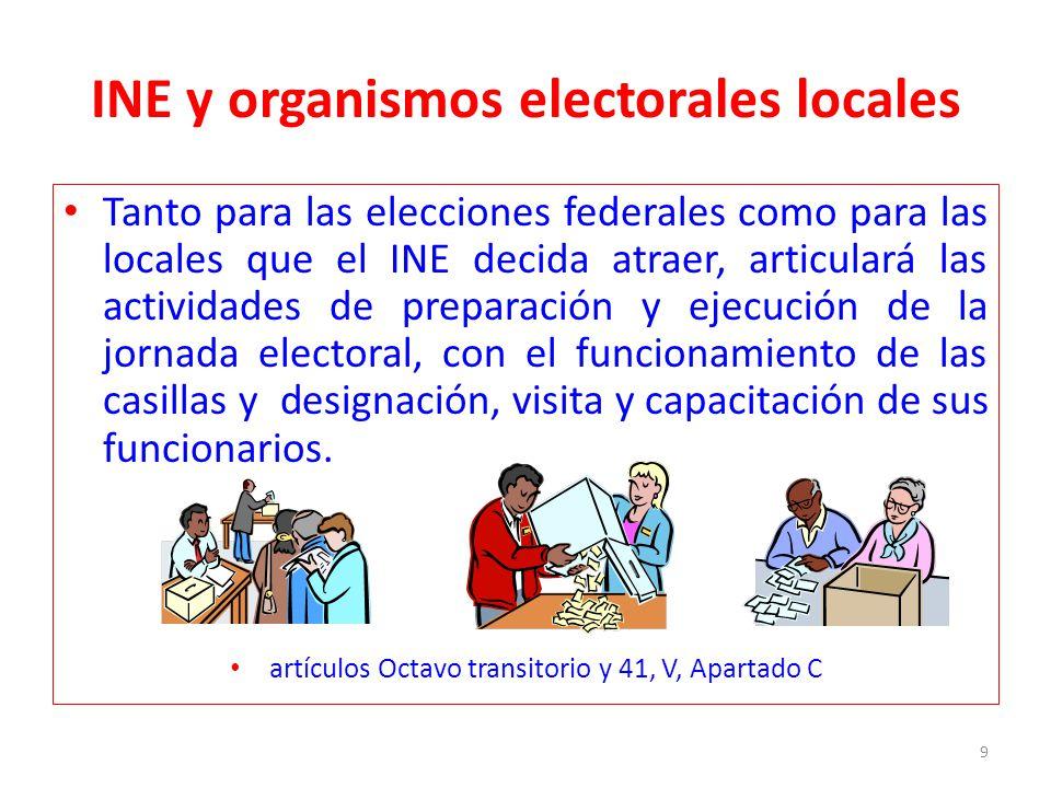 INE y organismos electorales locales Tanto para las elecciones federales como para las locales que el INE decida atraer, articulará las actividades de