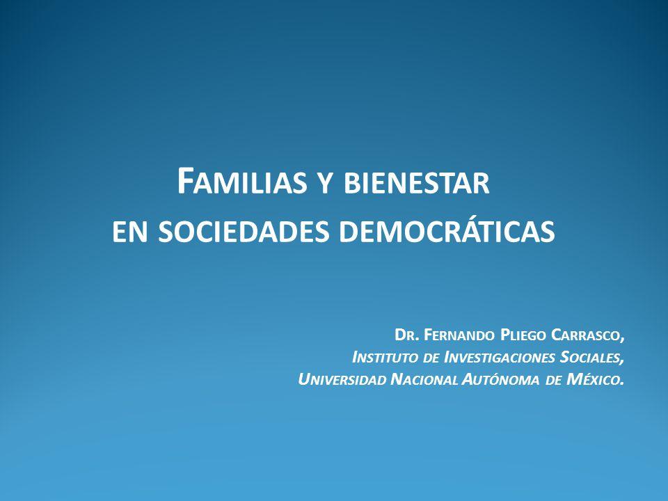 F AMILIAS Y BIENESTAR EN SOCIEDADES DEMOCRÁTICAS D R.