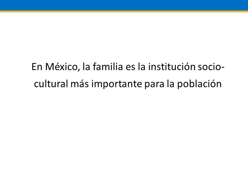 En México, la familia es la institución socio- cultural más importante para la población