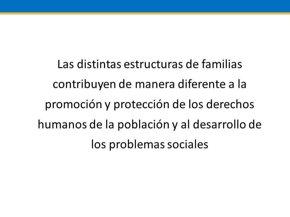 Las distintas estructuras de familias contribuyen de manera diferente a la promoción y protección de los derechos humanos de la población y al desarrollo de los problemas sociales