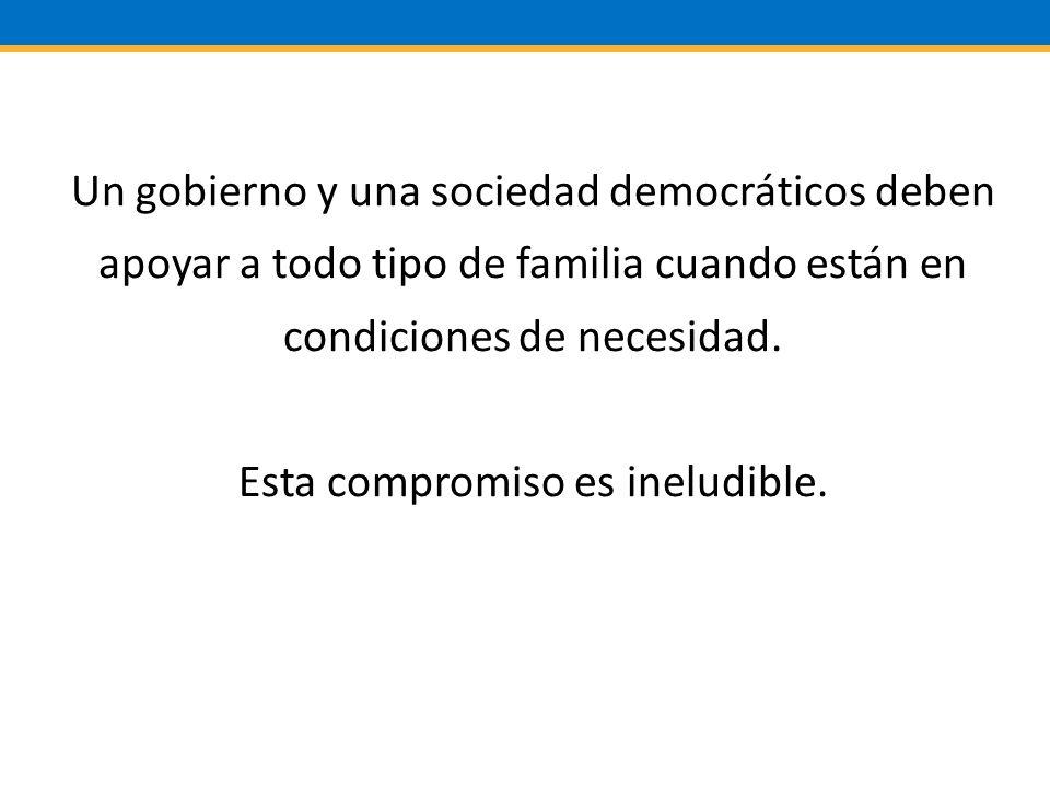Un gobierno y una sociedad democráticos deben apoyar a todo tipo de familia cuando están en condiciones de necesidad.