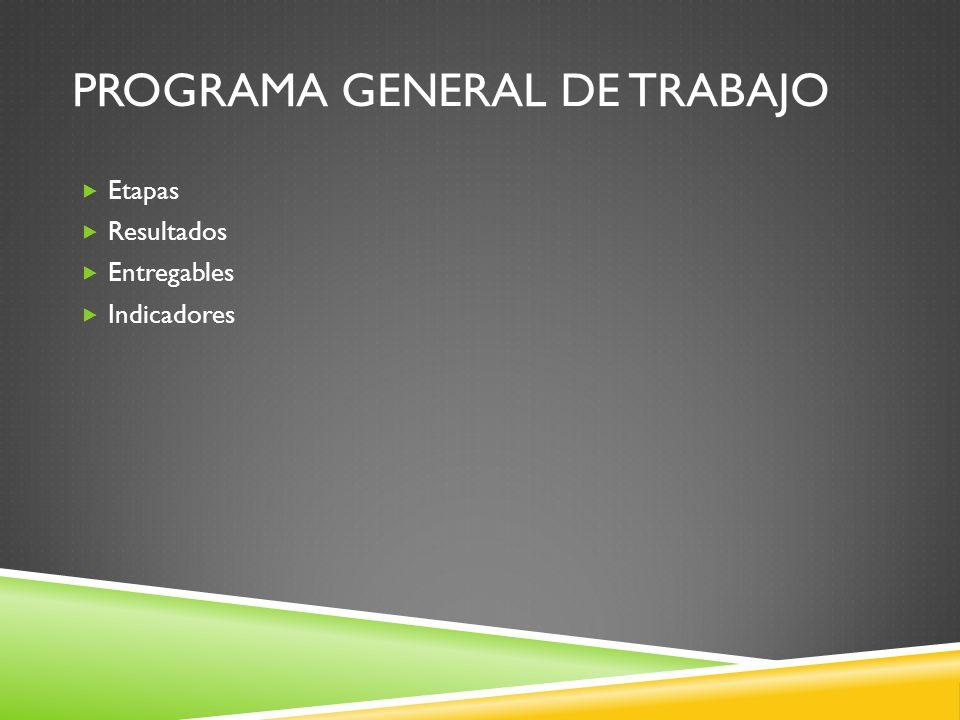 PROGRAMA GENERAL DE TRABAJO Etapas Resultados Entregables Indicadores