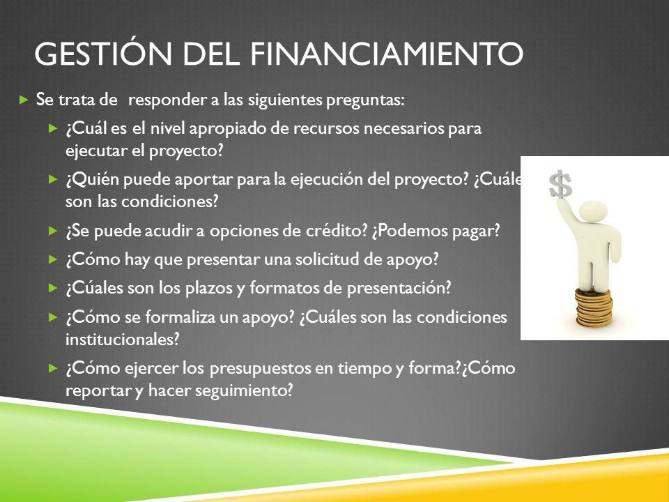GESTIÓN DEL FINANCIAMIENTO Se trata de responder a las siguientes preguntas: ¿Cuál es el nivel apropiado de recursos necesarios para ejecutar el proyecto.