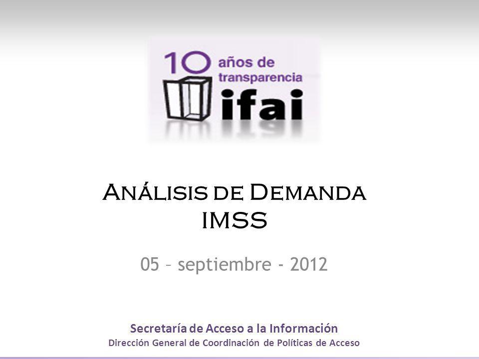 Secretaría de Acceso a la Información Dirección General de Coordinación de Políticas de Acceso Análisis de Demanda IMSS 05 – septiembre - 2012