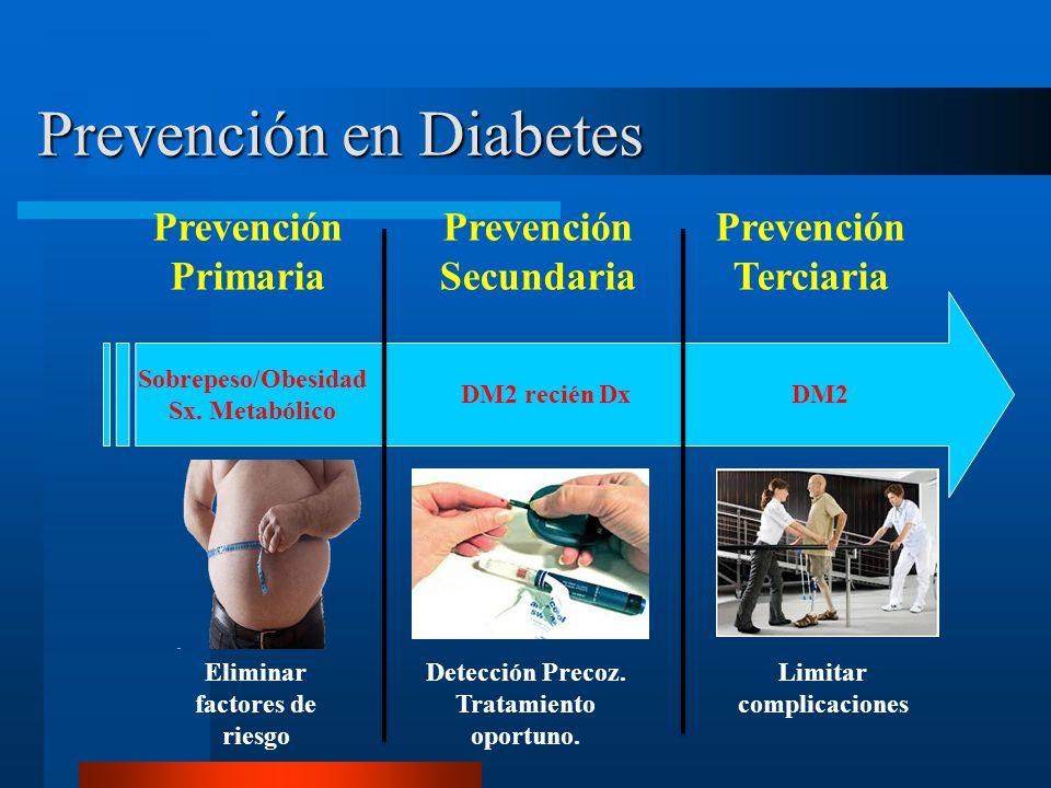 Prevención en Diabetes Prevención Primaria Prevención Secundaria Prevención Terciaria Sobrepeso/Obesidad Sx. Metabólico DM2 recién Dx Eliminar factore