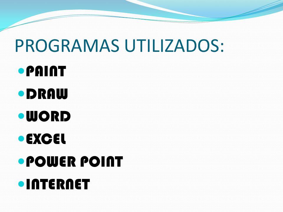 PROGRAMAS UTILIZADOS: PAINT DRAW WORD EXCEL POWER POINT INTERNET