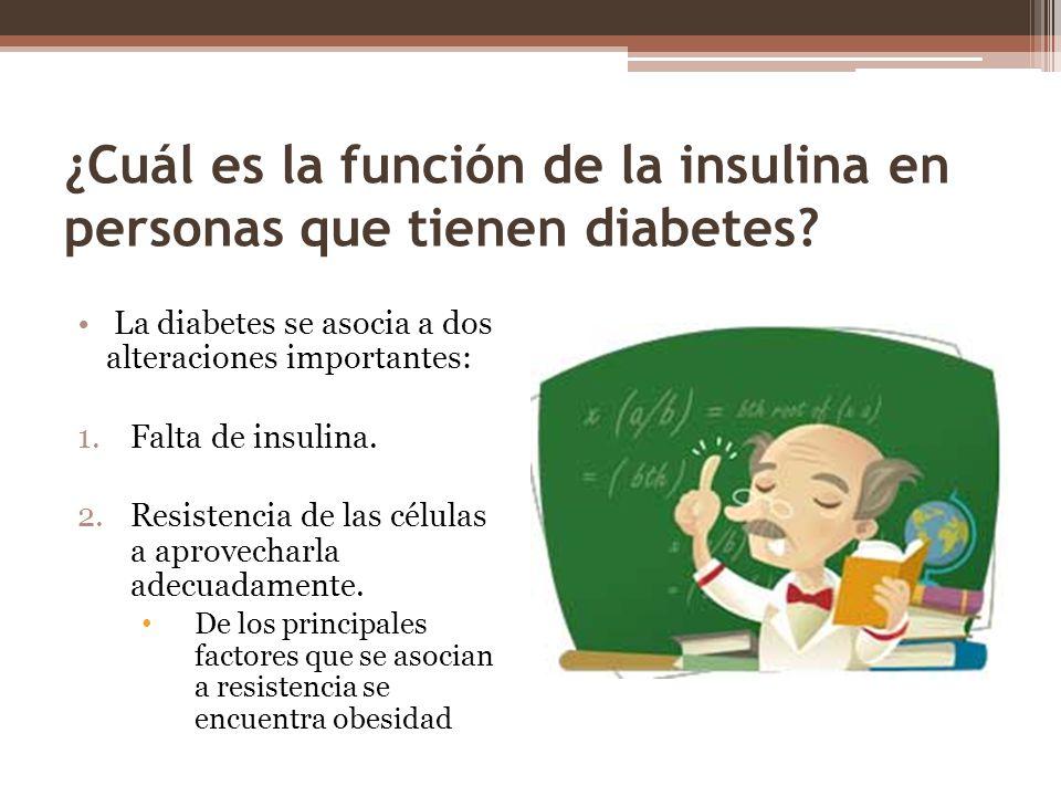 ¿Cuál es la función de la insulina en personas que tienen diabetes? La diabetes se asocia a dos alteraciones importantes: 1.Falta de insulina. 2.Resis