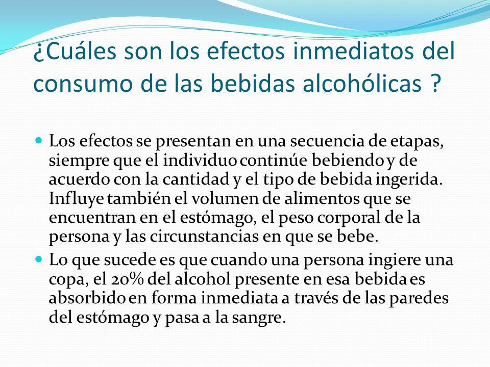 ¿Cuáles son los efectos inmediatos del consumo de las bebidas alcohólicas ? Los efectos se presentan en una secuencia de etapas, siempre que el indivi