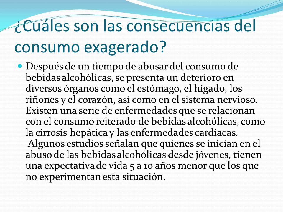 ¿Cuáles son las consecuencias del consumo exagerado? Después de un tiempo de abusar del consumo de bebidas alcohólicas, se presenta un deterioro en di