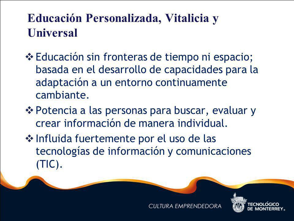 Educación Personalizada, Vitalicia y Universal Educación sin fronteras de tiempo ni espacio; basada en el desarrollo de capacidades para la adaptación a un entorno continuamente cambiante.