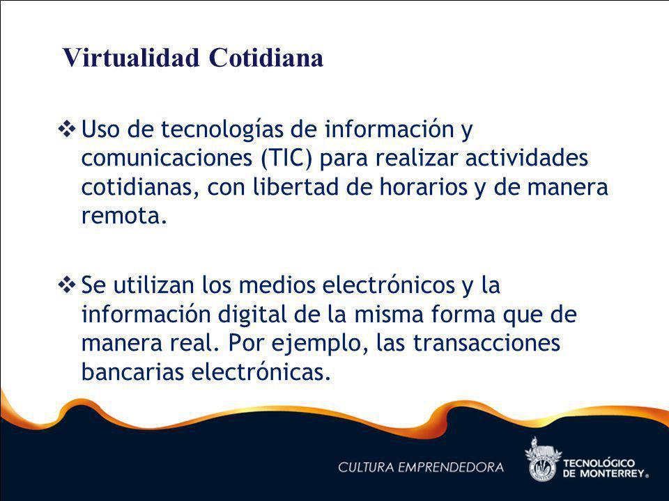 Virtualidad Cotidiana Uso de tecnologías de información y comunicaciones (TIC) para realizar actividades cotidianas, con libertad de horarios y de manera remota.