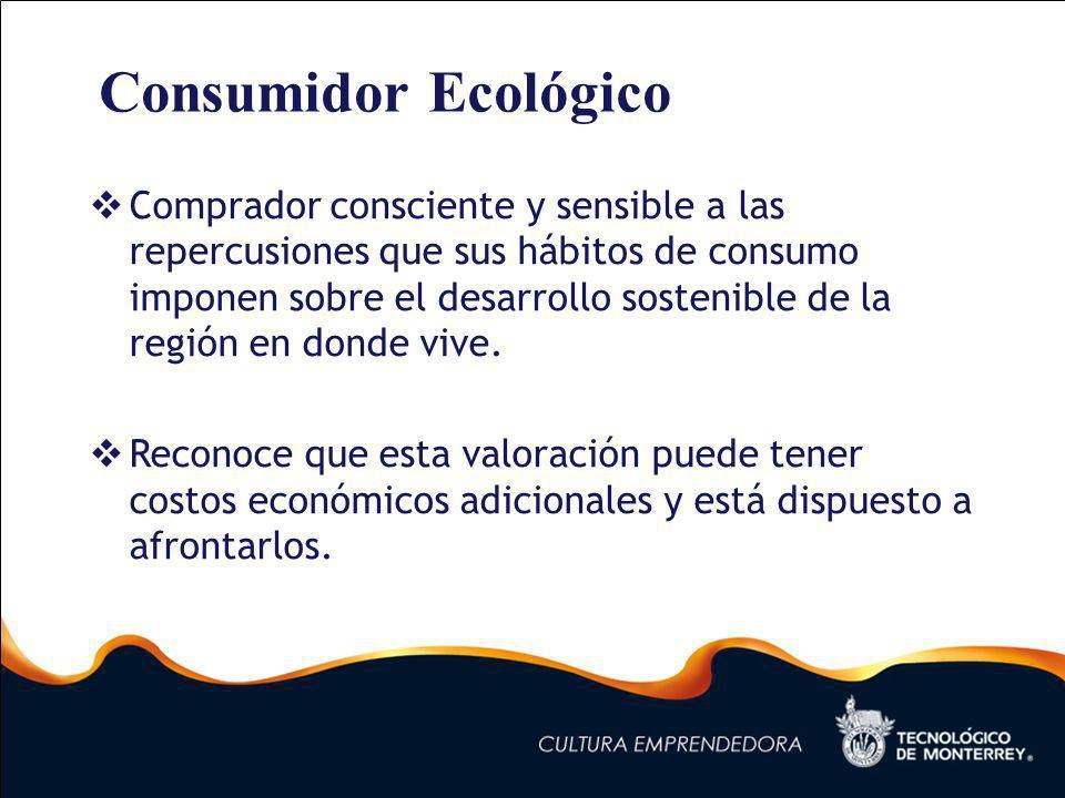 Consumidor Ecológico Comprador consciente y sensible a las repercusiones que sus hábitos de consumo imponen sobre el desarrollo sostenible de la región en donde vive.