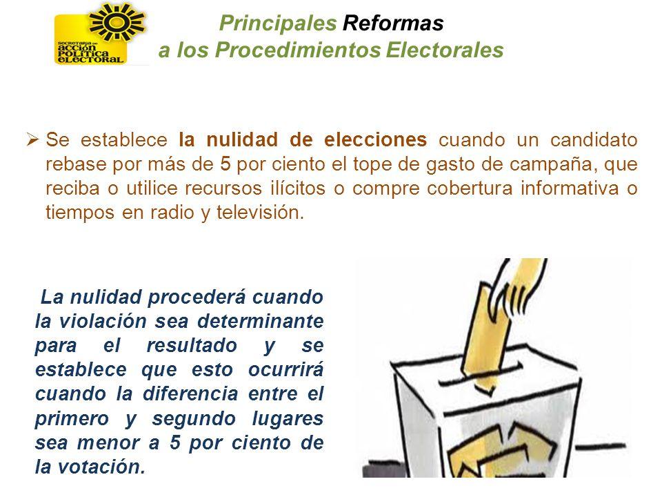 Se establece la nulidad de elecciones cuando un candidato rebase por más de 5 por ciento el tope de gasto de campaña, que reciba o utilice recursos il