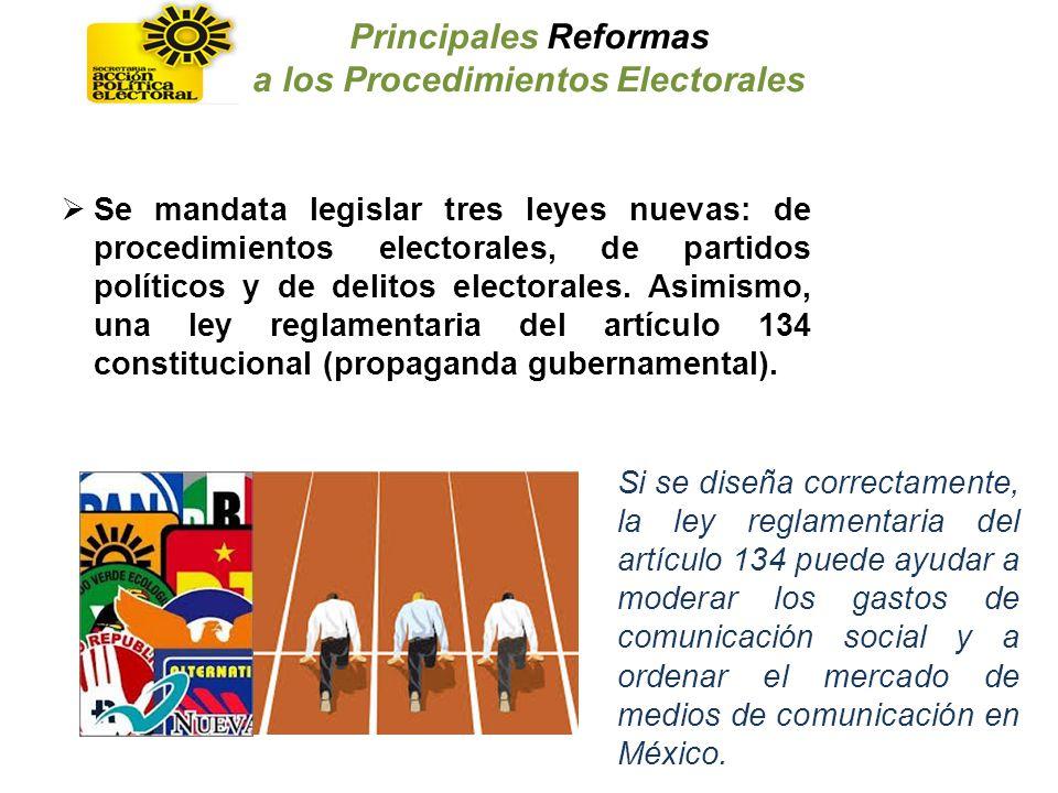 Se mandata legislar tres leyes nuevas: de procedimientos electorales, de partidos políticos y de delitos electorales. Asimismo, una ley reglamentaria