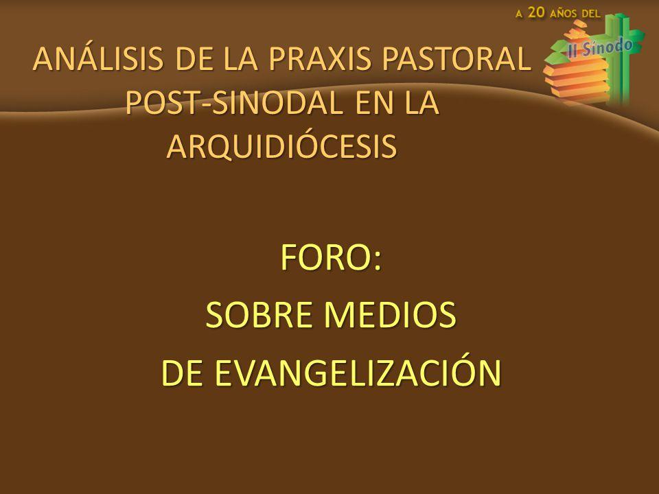 ANÁLISIS DE LA PRAXIS PASTORAL POST-SINODAL EN LA ARQUIDIÓCESIS FORO: SOBRE MEDIOS DE EVANGELIZACIÓN