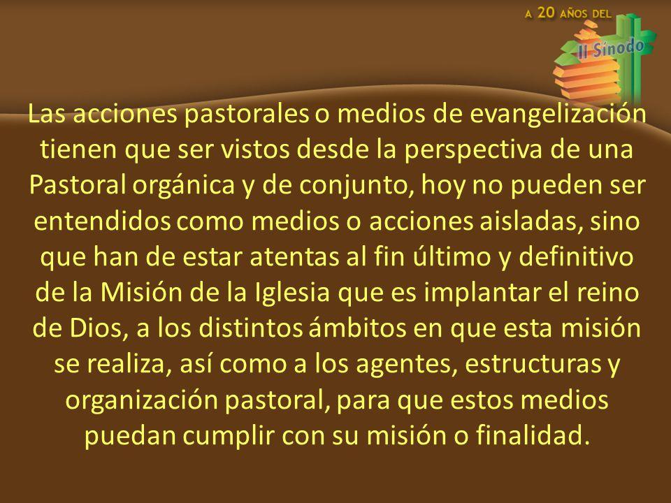 Las acciones pastorales o medios de evangelización tienen que ser vistos desde la perspectiva de una Pastoral orgánica y de conjunto, hoy no pueden se