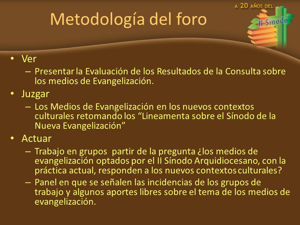 Metodología del foro Ver – Presentar la Evaluación de los Resultados de la Consulta sobre los medios de Evangelización. Juzgar – Los Medios de Evangel