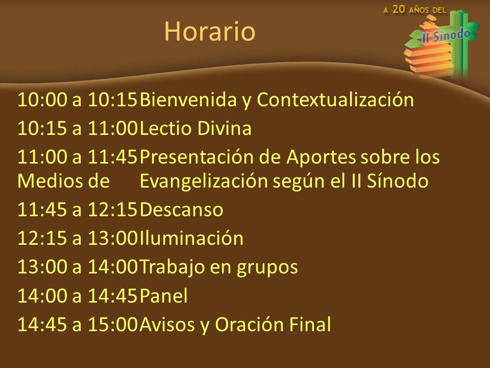 Horario 10:00 a 10:15Bienvenida y Contextualización 10:15 a 11:00Lectio Divina 11:00 a 11:45Presentación de Aportes sobre los Medios de Evangelización