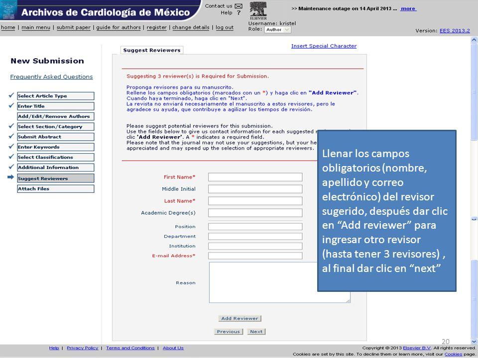 Llenar los campos obligatorios (nombre, apellido y correo electrónico) del revisor sugerido, después dar clic en Add reviewer para ingresar otro revis