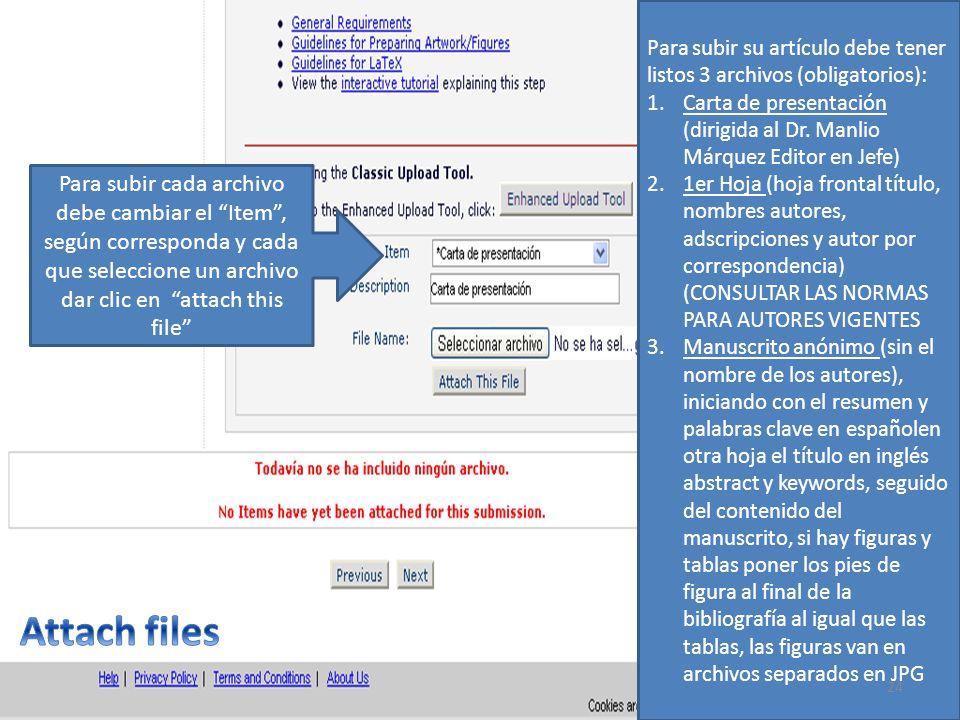 Para subir su artículo debe tener listos 3 archivos (obligatorios): 1.Carta de presentación (dirigida al Dr. Manlio Márquez Editor en Jefe) 2.1er Hoja