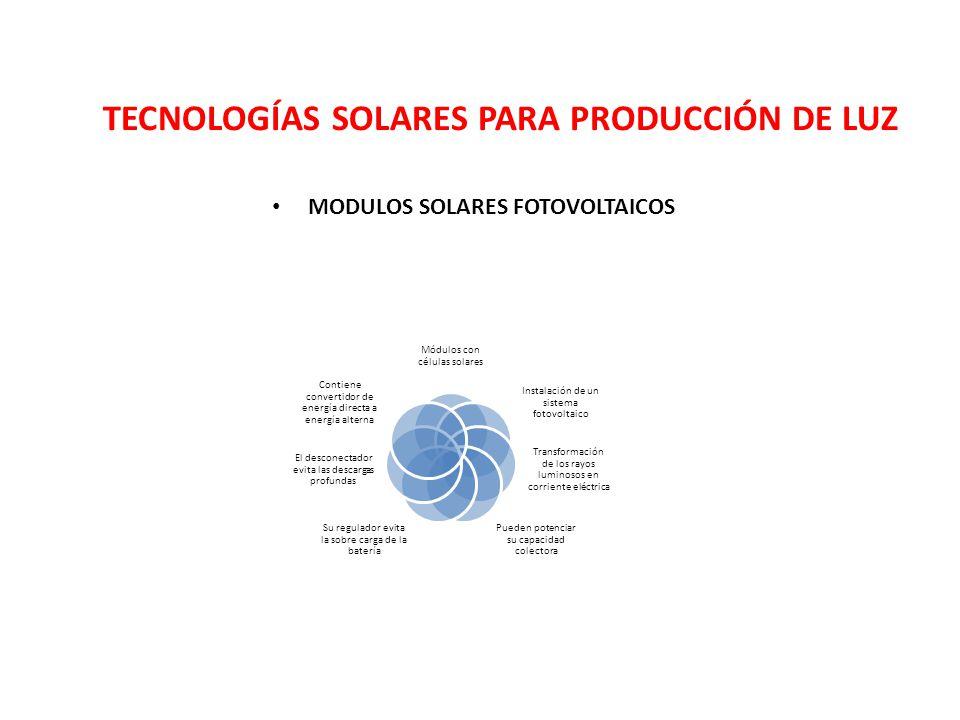 TECNOLOGÍAS SOLARES PARA PRODUCCIÓN DE LUZ MODULOS SOLARES FOTOVOLTAICOS Módulos con células solares Instalación de un sistema fotovoltaico Transforma