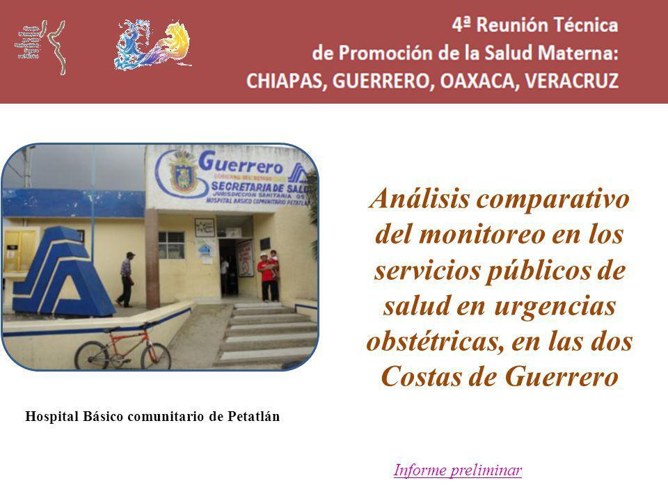 Análisis comparativo del monitoreo en los servicios públicos de salud en urgencias obstétricas, en las dos Costas de Guerrero Informe preliminar Hospital Básico comunitario de Petatlán