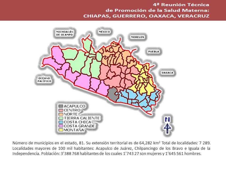 Estado de Guerreo Número de municipios en el estado, 81.