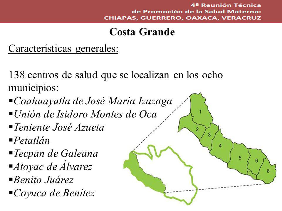 Características generales: 138 centros de salud que se localizan en los ocho municipios: Coahuayutla de José María Izazaga Unión de Isidoro Montes de Oca Teniente José Azueta Petatlán Tecpan de Galeana Atoyac de Álvarez Benito Juárez Coyuca de Benítez Costa Grande