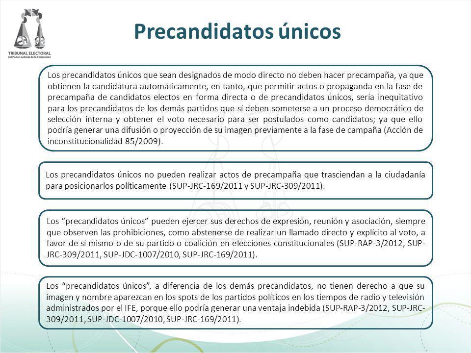Los precandidatos únicos que sean designados de modo directo no deben hacer precampaña, ya que obtienen la candidatura automáticamente, en tanto, que