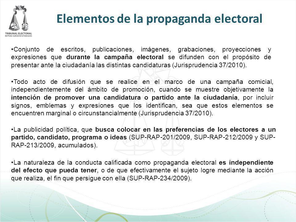 Elementos de la propaganda electoral Conjunto de escritos, publicaciones, imágenes, grabaciones, proyecciones y expresiones que durante la campaña ele