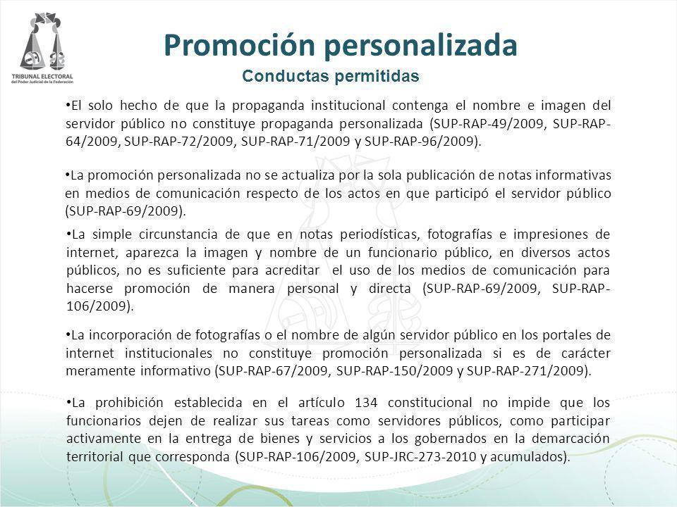 El solo hecho de que la propaganda institucional contenga el nombre e imagen del servidor público no constituye propaganda personalizada (SUP-RAP-49/2
