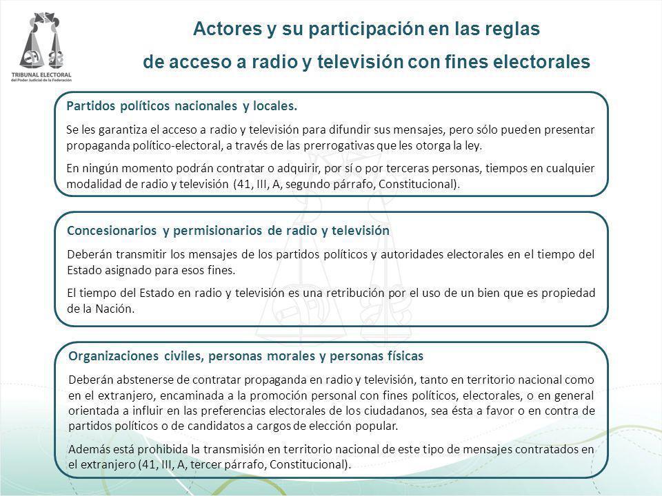 Actores y su participación en las reglas de acceso a radio y televisión con fines electorales Partidos políticos nacionales y locales. Se les garantiz