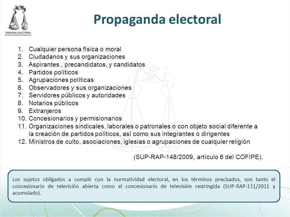 Propaganda electoral 1.Cualquier persona física o moral 2.Ciudadanos y sus organizaciones 3.Aspirantes, precandidatos, y candidatos 4.Partidos polític