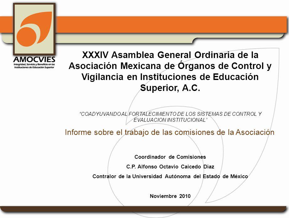 Estimados miembros de AMOCVIES: Con fundamento en lo establecido en las atribuciones que me confieren los estatutos y el Reglamento para el funcionamiento de comisiones, me permito dar lectura al octavo informe de avance de trabajos de Comisiones de la Asociación.