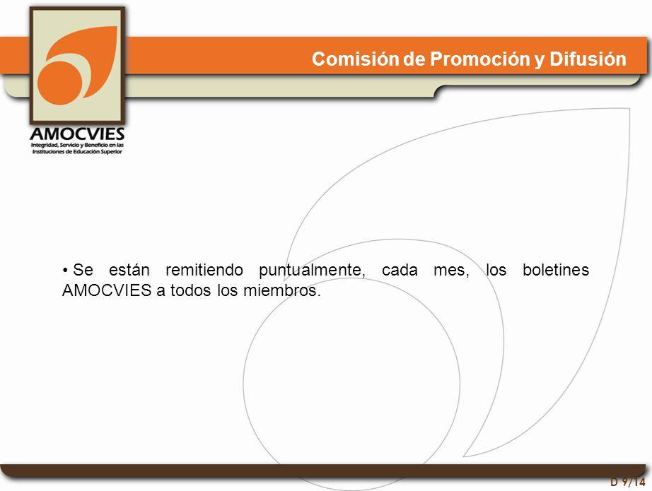 D 9/14 Comisión de Promoción y Difusión Se están remitiendo puntualmente, cada mes, los boletines AMOCVIES a todos los miembros.
