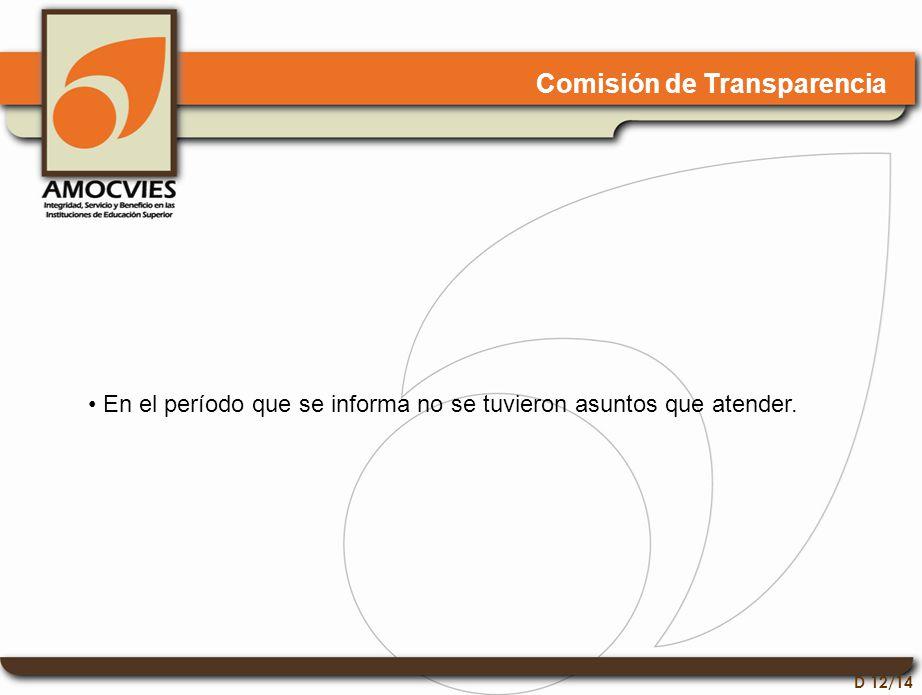D 12/14 Comisión de Transparencia En el período que se informa no se tuvieron asuntos que atender.