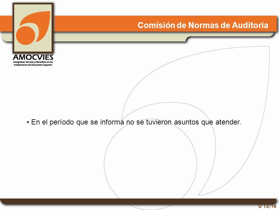 D 13/14 Comisión de Normas de Auditoría En el período que se informa no se tuvieron asuntos que atender.
