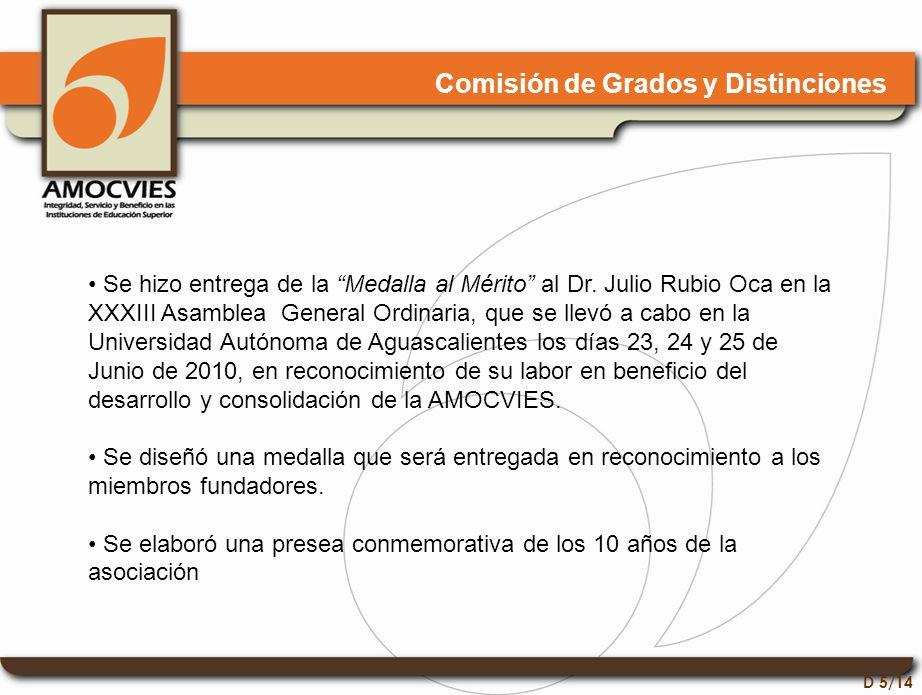 D 5/14 Comisión de Grados y Distinciones Se hizo entrega de la Medalla al Mérito al Dr.