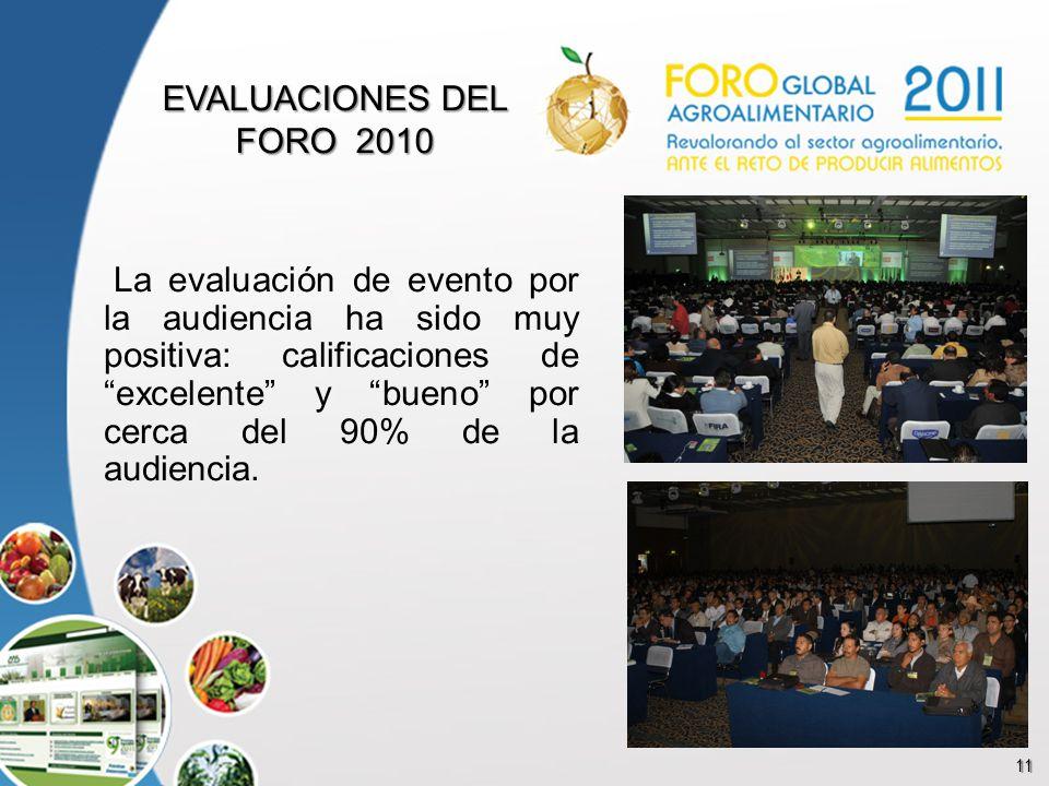 11 EVALUACIONES DEL FORO 2010 La evaluación de evento por la audiencia ha sido muy positiva: calificaciones de excelente y bueno por cerca del 90% de