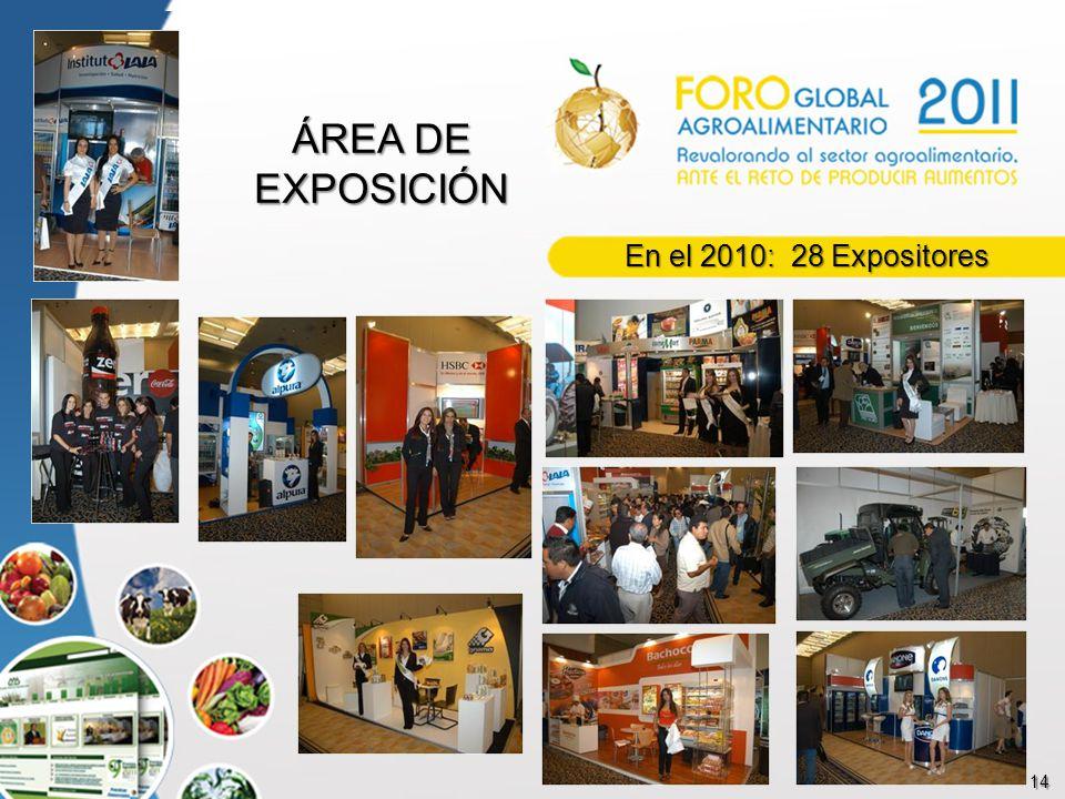 14 ÁREA DE EXPOSICIÓN En el 2010: 28 Expositores