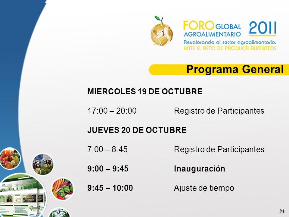 21 Programa General MIERCOLES 19 DE OCTUBRE 17:00 – 20:00Registro de Participantes JUEVES 20 DE OCTUBRE 7:00 – 8:45Registro de Participantes 9:00 – 9: