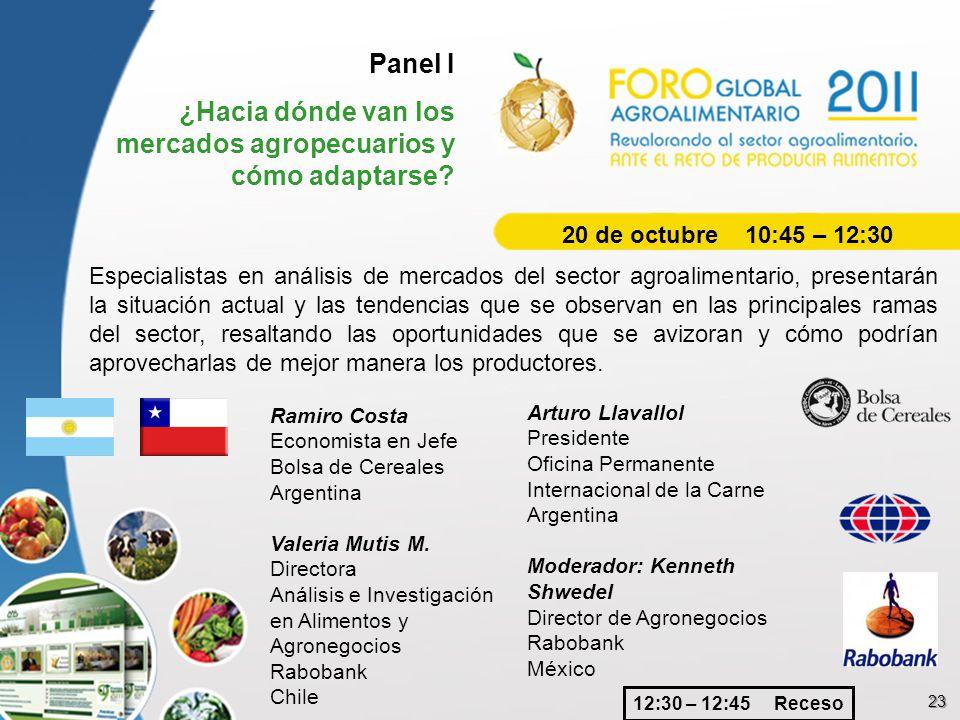 23 Panel I ¿Hacia dónde van los mercados agropecuarios y cómo adaptarse? Especialistas en análisis de mercados del sector agroalimentario, presentarán