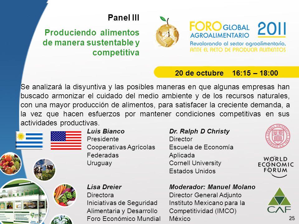 Panel III Produciendo alimentos de manera sustentable y competitiva Se analizará la disyuntiva y las posibles maneras en que algunas empresas han busc