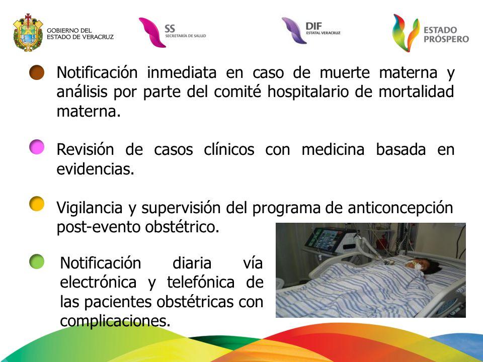 Notificación inmediata en caso de muerte materna y análisis por parte del comité hospitalario de mortalidad materna. Revisión de casos clínicos con me