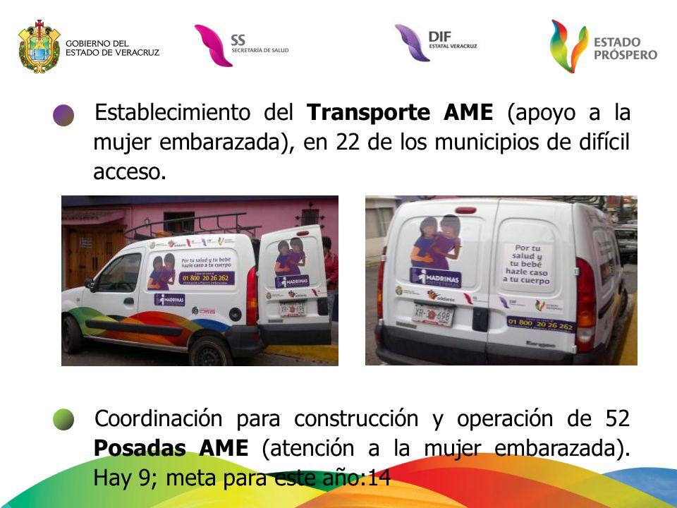 Establecimiento del Transporte AME (apoyo a la mujer embarazada), en 22 de los municipios de difícil acceso. Coordinación para construcción y operació