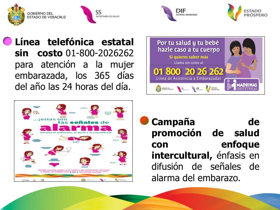 Línea telefónica estatal sin costo 01-800-2026262 para atención a la mujer embarazada, los 365 días del año las 24 horas del día. Campaña de promoción